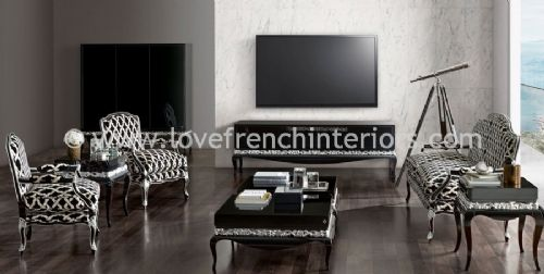 Luxus Living Room Collection in Black and Silver Leaf
